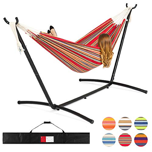 Best Choice Products 2-Person Indoor Outdoor Brazilian-Style Cotton Double Hammock Bed w/Carrying Bag, Steel Stand, Red Stripes