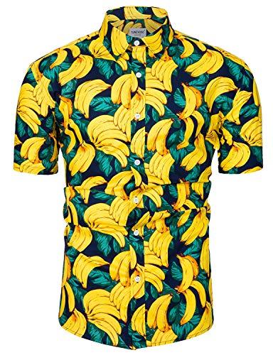 Herren Bananen Hemd Herren Vogel Hemd Strandhemd Hawaiihemd Kurzarm Urlaub Hemd Bananendruck Large