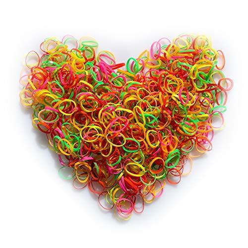 Ealicere 1000 Stück Haargummis, Mehrfarbige Mini Elastische Haargummis bänder, Haarbänder Kleine Gummibänder für Kinder Haar,Frauen Mädchen Flechten und tägliche...