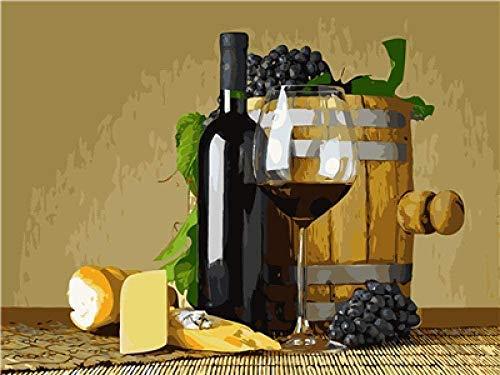 Kit de pintura al óleo de nuevo producto / Pintura por números / Sin marco / Decoración del hogar Pintura muy significativa-Pan de uva de vino tinto