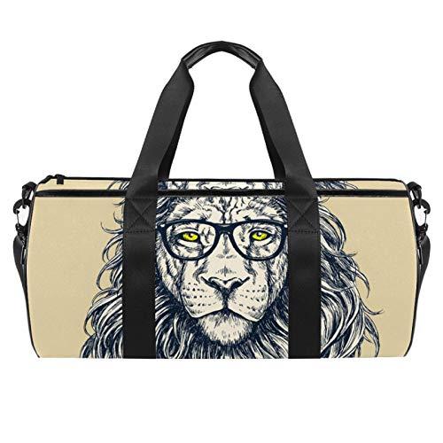 LAZEN Hombro Handy Sports Gym Bags Travel Duffle Totes Bag para hombres, mujeres, león con gafas