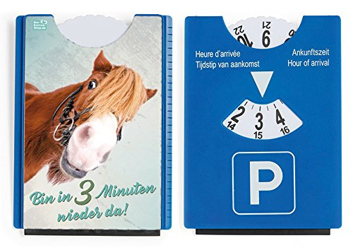 Fun Spaß Motiv Parkscheibe mit Eiskratzer und Gummilippe witziges Pony 'Bin in 3 Minuten wieder da!'