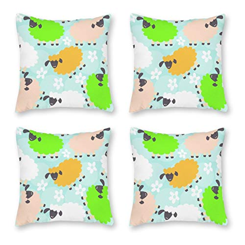 None-brands Pillow Covers Throw Cushion Cover Look Decorative Pillowcases For Sofa 18 X 18 Inch Set Of 4 No Pillow Insert Goat Colorful Azure Sky White Cloud Pattern