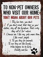 レトロなスタイルの金属標識、壁札、ペットの飼い主ではないルール