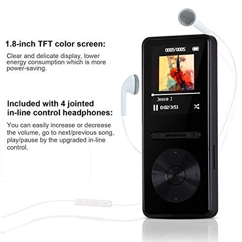 AGPtek A298GB Reproductor de MP3con Metal Control en línea, reproductor de mp3sin pérdida portátil con radio FM, grabadora de voz, 55horas de reproducción y ampliable hasta 64GB, pantalla TFT de 1,8pulgadas, Negro