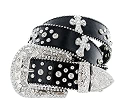 Rhinestone Cross Jeweled Studded Western Cowgirl Black Belt