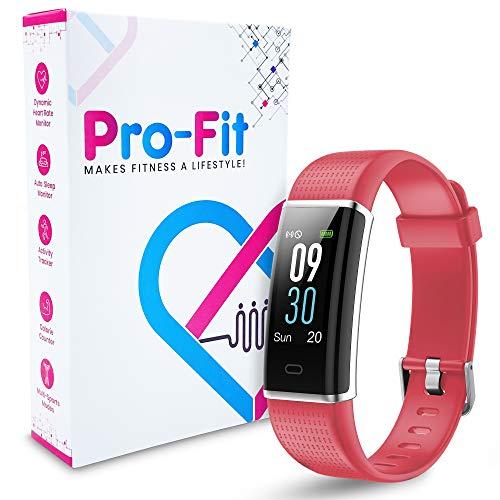 Pro-Fit VeryFitPro Fitness Tracker Color Screen Activity Tracker Heart Rate Sleep Monitor IP67 Waterproof Pedometer Watch (ID130C) (Raspberry Red)
