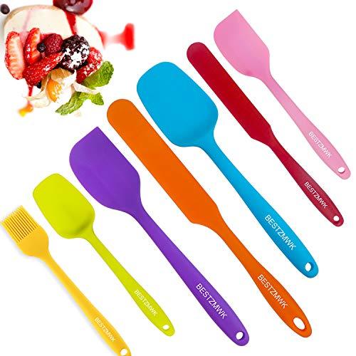 Silicone Spatula - 7 Spatulas Silicone Heat Resistant - Mini Rubber Spatula Set - Cooking Spatulas for Nonstick Cookware - Colorful Baking Kitchen Spatula Set - One Piece Design Spoon (Multicolor)
