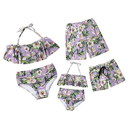 Maillot de Bain Deux-Pièces Imprimé Floral sans Manches Bikini, Maman et Fille Dos Nu Col Tops Taille Haute Bas Bikinis Shorts de Bain Papa et Garçon