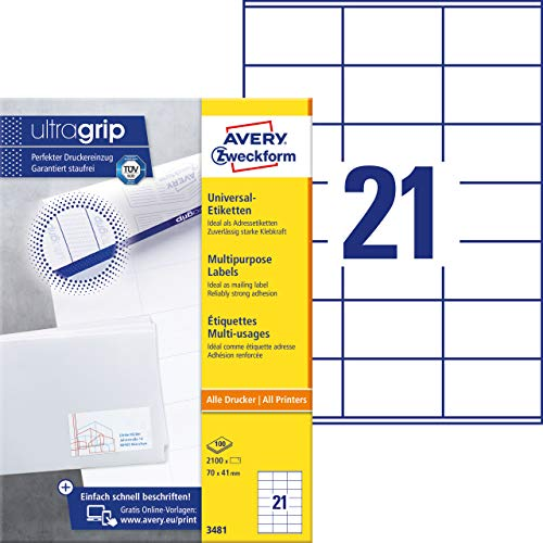 AVERY Zweckform 3481 Adressaufkleber (A4 mit ultragrip 70x41 mm, 100 Blatt, Papier matt, bedruckbare, selbstklebende Adressetiketten, 2,100 Klebeetiketten) weiß