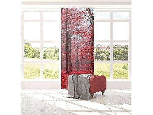 Oedim Cenefa Vertical Autoadhesiva Vinilo Pared Bosque Rojo | Cenefa Vertical para Paredes | Vinilo Decorativo | Cenefa | 77 x 260 cm | Decoración comedores, Salones, Habitaciones.