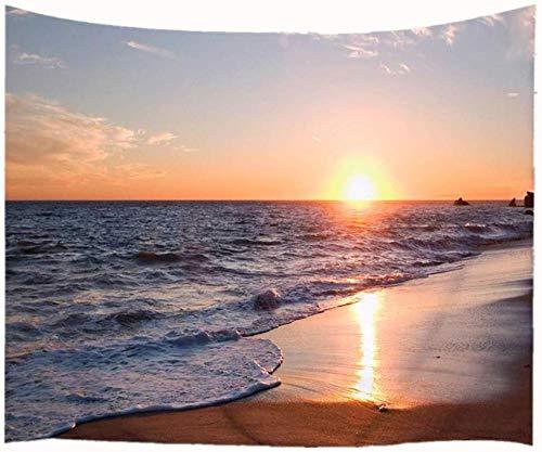 WAXB Tapiz Ocean Beach Tapiz para Colgar En La Pared Costa Al Amanecer Tela Naranja Azul Marrón Cortina, Mantel, Dormitorio, Habitación, Decoración del Hogar, Regalo, 51 X 59 Pulgadas
