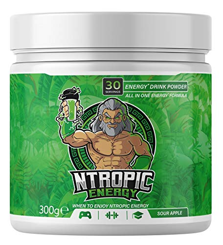 NTROPIC ENERGY - Energy Drink Powder - Energy Fuel Formula - Sour Apple 300g (30 Servings) - Formulated for Gaming, Gym, Study – Sugar Free, Gluten Free, Suitable for Vegans