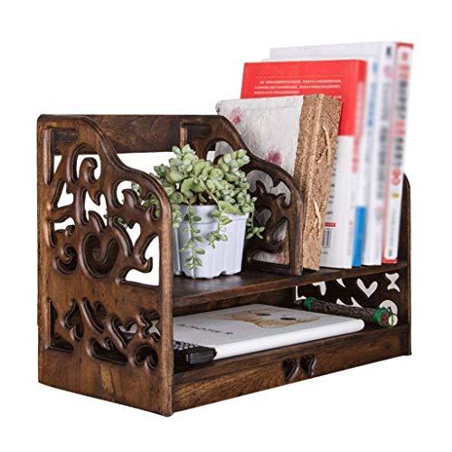 FHKBK Librerías Estantería de Escritorio de Madera Maciza Organizador de Almacenamiento Retro Pantalla Estante de Doble Capa Estante Usado para Libros y Documentos Estante de estantería