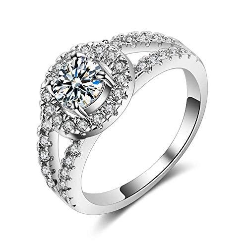 U-K Anillo de Diamantes Falsos, Anillos de Compromiso de Boda de Banda de Anillo de eternidad Plateados para Mujeres, 8 Elegantes y popularesDurable y útil