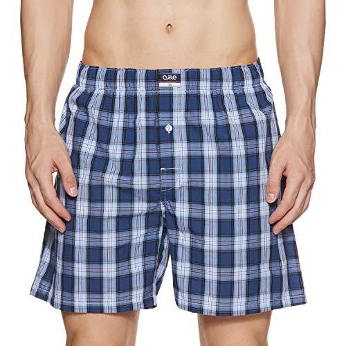 Ajile By Pantaloons Men's Knee high Checkered Boxers (110059279_Blue_Medium)