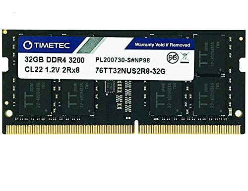 Timetec Extreme Performance Hynix IC 32GB DDR4 3200MHz PC4-25600 CL22 1.2V Unbuffered Non-ECC Dual Rank 2R8 Designed for Gaming High Performance Compatible with AMD and Intel Laptop RAM (32GB)