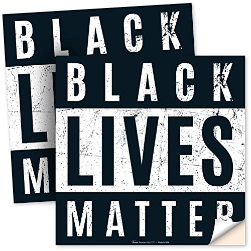 Black Lives Matter Bumper Stickers, 4x4 Inches, (2 Pack) 4 Mil Vinyl Decal Stickers Weather Resistant Long Lasting UV Protected, Made in USA by ARMO