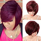 CYJGAF Women's Short Straight Pixie Cut Synthetic Wigs African American Bob Hair With Bangs