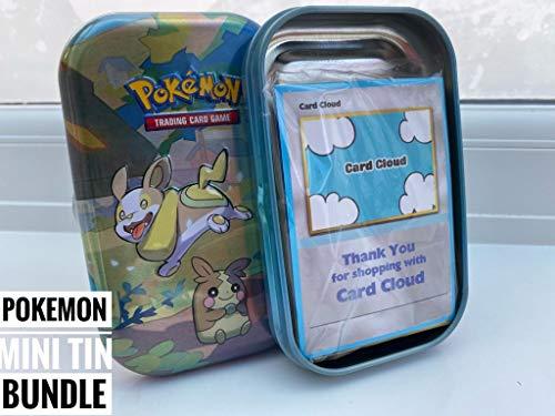 Card Cloud Pokemon Mini Tin Bundle with 50x Pokemon Cards - 1x Pin Badge -...
