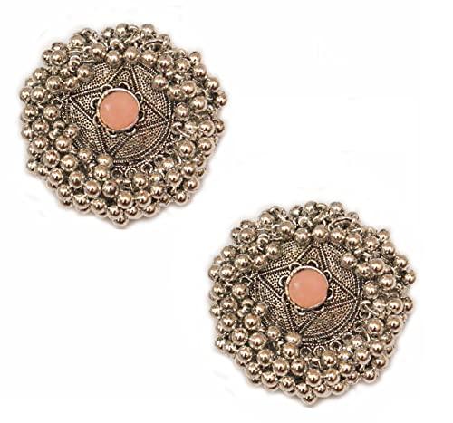 Pahal - Pendientes redondos de plata de jhumka de plata oxidada y naranja y racimo de kundan, redondos, de bollywood, para mujeres