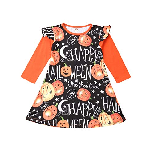 Geagodelia Happy Halloween Kid Infant Baby Girls Dress Pumpkin Long Sleeve Ruffled Tutu Princess Dress Winter Outfit Clothes (Black, 1-2 Years)