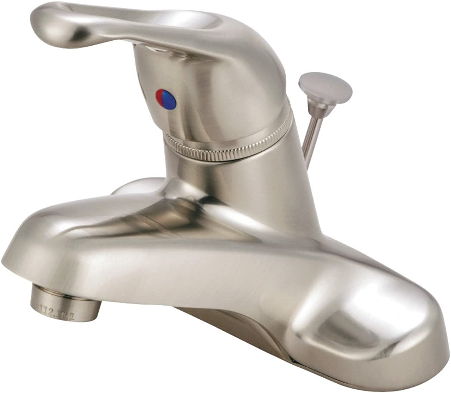 Kingston Brass Gkb518B Single Loop Handle 4-Inch Centerset Lavatory Faucet With Brass Pop-Up, Satin Nickel (Not Ca Vt Compliant)