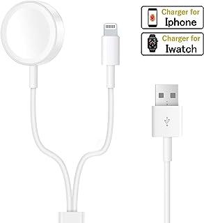 Apple Watch ワイヤレス充電ケーブル iphone充電ケーブル【一本二役】 磁気吸着 充電器 置くだけ充電 アップルウォッチ Series 4 Series 3 Series 2 Series 1 38mm/42mm対応 充電ケーブル 1m