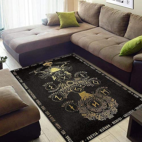 Personalized Yggdrasil Norse Mythology Gold Rug Gifts for Dad Washable Runner Rug Floor Cover Anti-Slip Rubber Backing Nursery Hallway Dorm Outdoor Floor 2x3 3x5 4x6 5x8 Area Rug