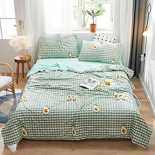 Dreamdge Duvet Cover Set with Pillowcases & Zipper Closure Feather Silk Cotton, Green Avocado Patterns 180x200 Only Quilt