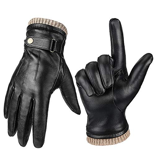 Guantes de motocicleta para hombre, de piel transpirable, para pantalla táctil, cálidos, para motocicleta, motocross, carreras, enduro y bici MTB, M