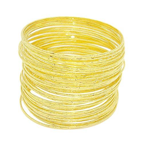 JSEA 50 stücke Metall Dünne Armband Armreifen Set Womens Indische Armreif Silber Gold Mädchen (Gold)