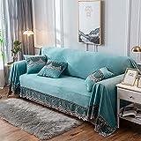 IUYJVR Housses de canapé en Daim de qualité supérieure, housses de canapé élégantes 1 pièce, protège-meubles pour 1 2 3 4 ou très Grand canapé de Coussin, housses de canapé en Peluche - Bleu a 200x