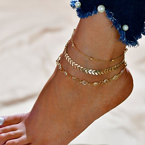 Kercisbeauty (Set of 3) Simple Arrow Fish Bone Anklet Chain Crystal and Beads Beach Sandal Barefoot Foot Ankle Bracelet Accessories(Gold)