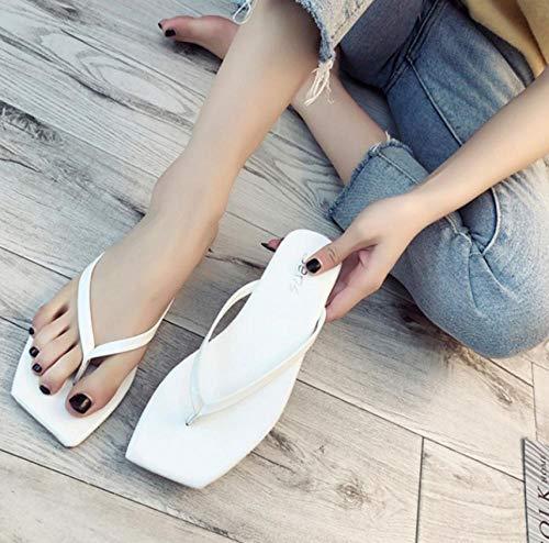lxylllzs Chanclas Unisex – Adulto,Zapatillas con pies Cuadrados con Clip y Chanclas Planas de Color Caramelo-Blanco_37,Flip, Chanclas Unisex Adulto,