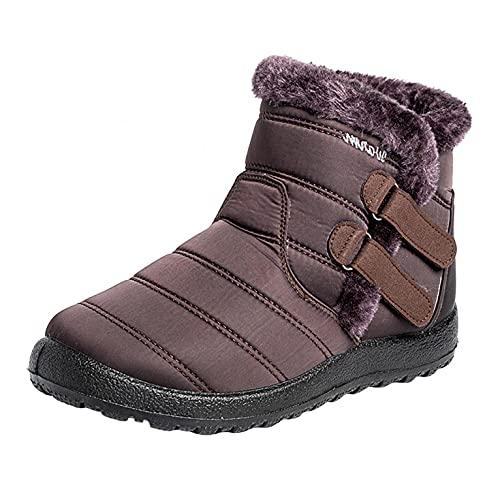 RTPR Botas planas de invierno para mujer, forradas, impermeables, antideslizantes, ligeras, cómodas, cortas, para caminar, café, 38 EU