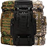 Wesoke 80L Camping Hiking Military Tactical Backpack, Adjustable Waterproof Large Capacity Travel Daypacks Outdoor MOLLE Rucksack, Blcak