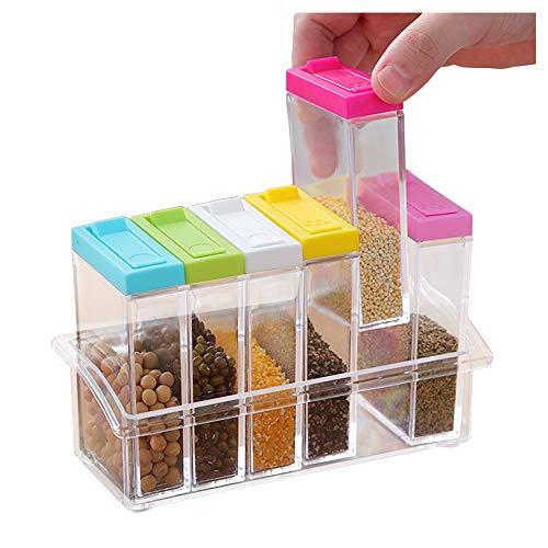 Lot de 6 boîtes à épices en plastique transparent,...