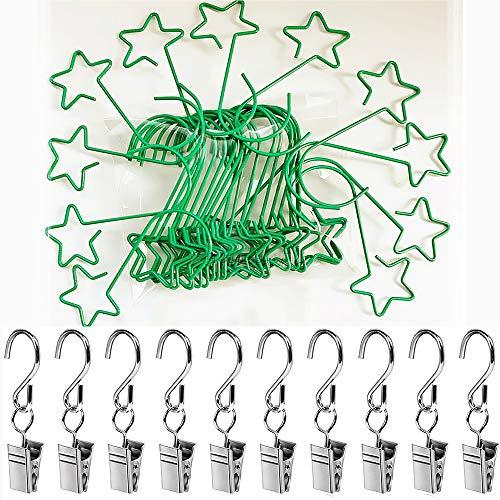 Cojoy 50 Stück Christbaum schmuck Haken, kleine Edelstahlhaken für die Weihnachtsbaum Dekoration, 40 Stück Sternformhaken und 10 Stück Haken mit Clips zum Aufhängen von Weihnachts geräten, Grün