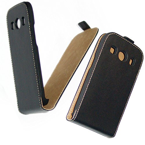 CUSTODIA IN ECO PELLE PER Samsung Galaxy Ace 4 G357 nera anti urto flip case