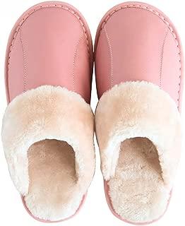 NYDZDM Cowhide Slippers Indoor Home Couple Floor Slip Warm Warm Leather Cotton Slippers Winter Home Men and Women Slippers Winter (Color : Pink, Size : 37-38)