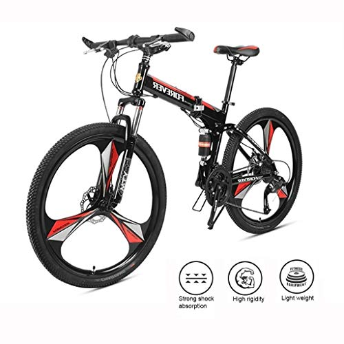 Adults Folding Bikes, High-Carbon Steel Double Disc Brake Folding Mountain Bike, Dual Suspension Foldable Bicycle, Portable Commuter Bike (Color : Black, Size : 27-speeds)