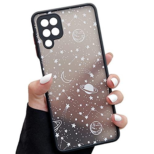 ZTOFERA Kompatibel mit Samsung Galaxy A12 Hülle, 6,5 Zoll, Planet Stern Universum Muster Schutzhülle Matt Harte PC Rückseite Hülle mit Silikon Bumper Cover Handyhülle für Samsung Galaxy A12, Weiß Sky