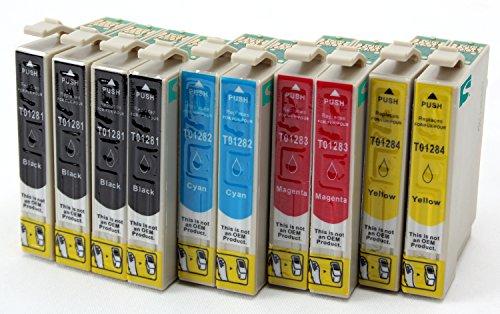 10 Tintenpatronen kompatibel zu Epson T1281 T1282 T1283 T1284 | 4x SCHWARZ & je 2x CYAN MAGENTA GELB | für Epson Stylus Office BX305F BX305FW / Stylus S22 SX125 SX420W SX435W SX425W