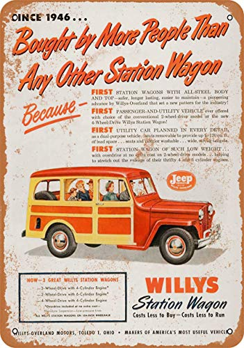 3 Pcs 8' x 12' Metal Sign - 1950 Willy's Station Wagon - Vintage Look