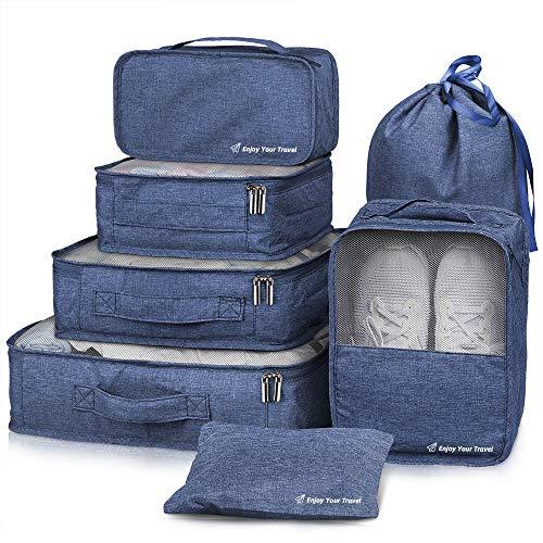 Packing Cubes VAGREEZ 7 Pcs Travel Luggage Packing Organizers Set with Laundry Bag (Navy Blue)