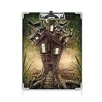 学者スケッチ描画ボード 神秘的な家の装飾 アイデア多機能メニュー Windows煙煙突グリーンベージュと神秘的な森のファンタジーツリーハウス