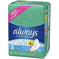 2-Pack x 38-Count Always Ultra Thin Size 3 Extra Long Super Pads with Wings Unscented