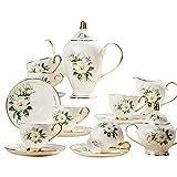 XCTLZG 15 Pieces Porcelain Tea Set for Adults Coffee Cup Set Afternoon Tea Set Vintage British Royal High Grade Bone China Cups Birthday Wedding Gift