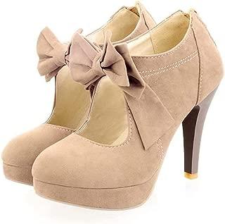 Geddard Faux Suede Platform Pumps for Women Sweet Bowtie High Heeled Shoes Round Toe Back Zipper Dress Pumps